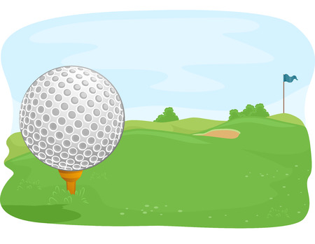 Close Up Illustration of a Golf Ball Lying in the Middle of a Golf Course Stock Photo