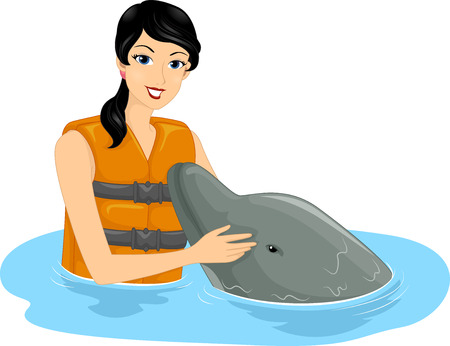 snout: Illustration of a Girl Patting a Friendly Dolphin on the Snout