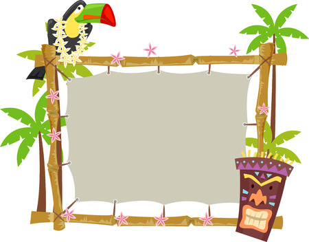 Illustratie van een Toucan zat op een houten frame