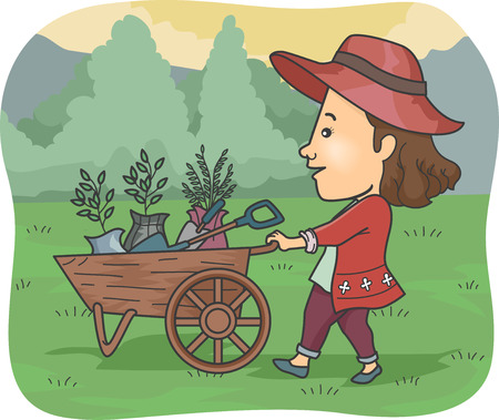pushing: Illustration of a Girl Pushing a Cart Full of Plants and Garden Tools Stock Photo