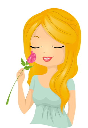 smelling: Illustration of a Beautiful Woman Smelling a Rose Stock Photo