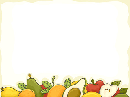 food clipart: Background Illustration of Assorted Fruits Forming a Border