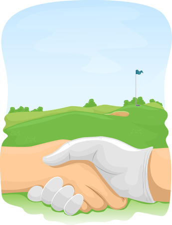course: Illustration of Golfers Shaking Hands in a Golf Course