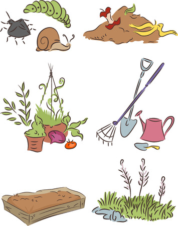 compost: Illustration Set Featuring Things Commonly Associated with Gardening Stock Photo