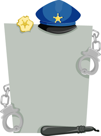 typically: Board Illustration Featuring Items Typically Issued to Policemen