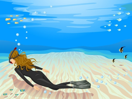 free diver: Background Illustration of a Female Free Diver Scanning the Seabed