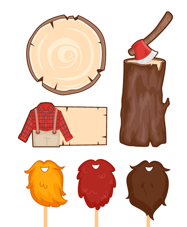 woodsman: Illustration Set Featuring Things Usually Associated with Lumberjacks Stock Photo