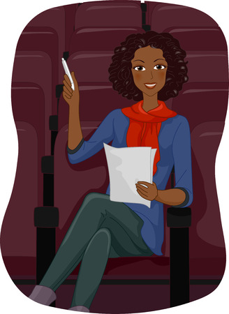 screenwriter: Illustration of a Female Theater Director Holding a Script
