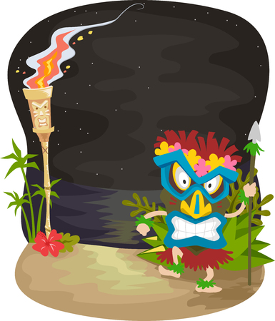 Illustration of a Night Scene with a Man Wearing a Tiki Mask Standing Near a Tiki Torch Imagens