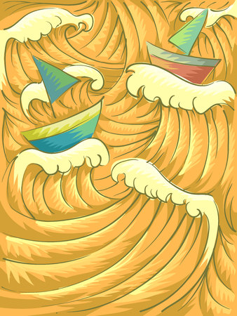 typhoon: Background Illustration of Giant Waves Reflecting the Color of Sunset