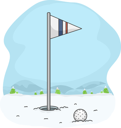 snow covered: Illustration of a Golf Ball Lying on the Snow Covered Ground Stock Photo