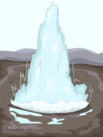 spew: Illustration of a Geothermal Geyser Spouting Water Stock Photo