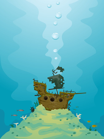 submerged: Illustration of a Pirate Ship Submerged Underwater