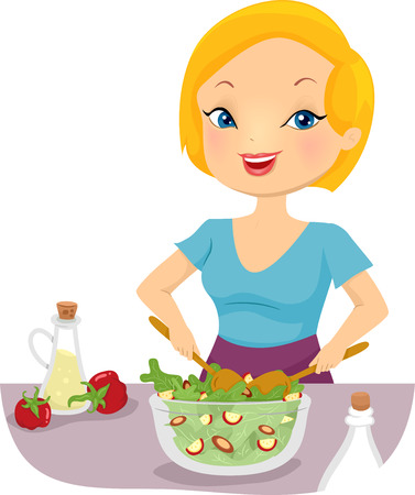 salad bowl: Illustration of a Girl Tossing a Bowl of Salad Stock Photo