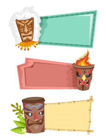 tiki: Illustration of Blank Banners Decorated with Tiki Statues