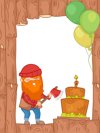 chop: Frame Illustration of a Lumberjack About to Chop the Cake with an Axe Stock Photo