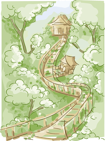 rope bridge: Doodly Illustration of a Tree House Connected to a Long Wooden Bridge