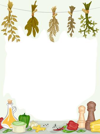 kulinarne: Rama Ilustracja organicznych przypraw i dodatków Zdjęcie Seryjne