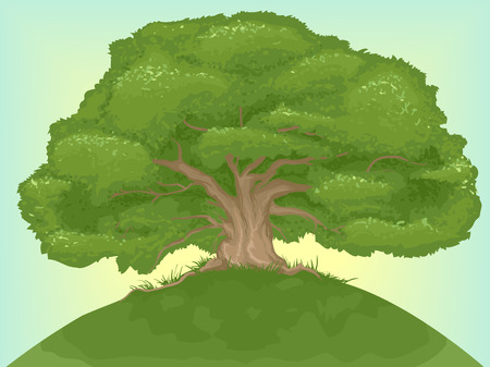 Illustration of a Giant Tree on Top of a Hill Stock Photo