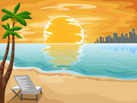 settings: Illustration of an Urban Beachfront with the Setting Sun as its Background