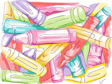sketchy illustration: Sketchy Illustration of a Disorganized Pile of Crayons