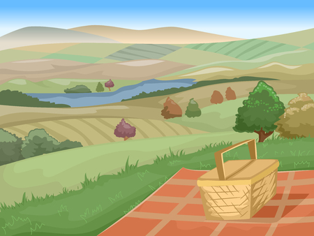 stunning: Illustration of a Picnic Site with a Stunning View of Farmlands