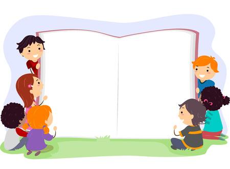 libros abiertos: Stickman Ilustración de niños La apertura de un libro gigante Foto de archivo