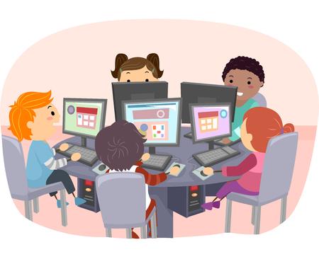 컴퓨터를 사용하여 아이의 Stickman의 그림 스톡 콘텐츠