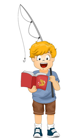 reading a book: Illustration of a Little Boy Holding a Fishing Rod Reading a Book