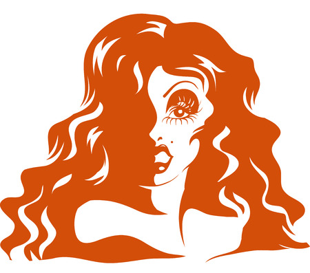 Stencil Illustration of a Drag Queen with Long Hair  Done in Orange Ink