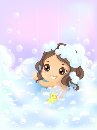 duckie: Illustration of a Little Girl Playing with Bubbles and a Rubber Duckie While She Bathes - eps10