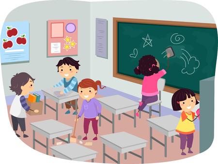 教室で一緒に掃除棒人間子供のイラスト