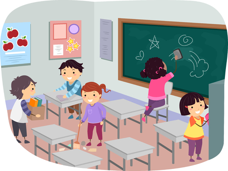 students in class: Illustration of Stickman Kids Cleaning Their Classroom Together Stock Photo