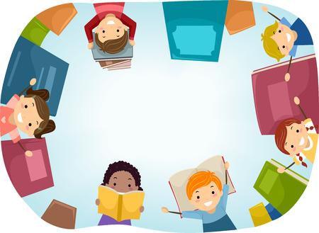 infancia: Vista superior Stickman Ilustración de niños rodeado de libros Foto de archivo