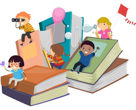 дети: Stickman Иллюстрация детей, играющих Рядом Гигантские Книги Фото со стока