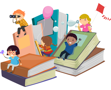 early childhood: Stickman Illustration of Kids Playing Near Giant Books Stock Photo