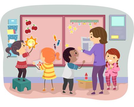 Stickman Illustratie van Kids Het verfraaien van een Bulletin Board