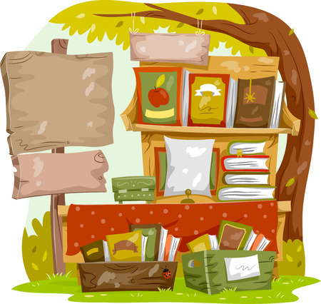 Illustration of a Blank Sign Board Standing Beside a Shelf of Books for Sale