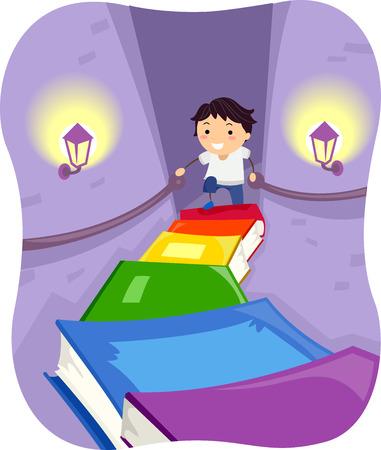bonhomme allumette: Illustration Stickman d'un petit garçon escalade un escalier Made of Books