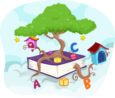 knowledge clipart: Illustration of a Tree Growing Out of a Giant Book