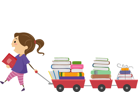 book: Stickman Illustration of a Little Girl Pulling a Cart Full of Book Stock Photo