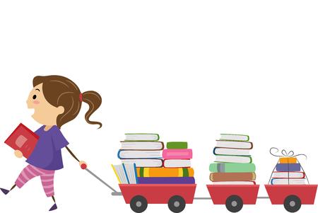 libros: Stickman Ilustración de una niña que tira de un carro lleno de libro