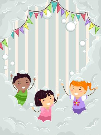 bonhomme allumette: Illustration Stickman des enfants jouer dans une partie en mousse