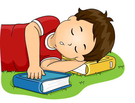 Illustration of a Little Boy Using His Book as a Pillow While He Sleeps Banco de Imagens