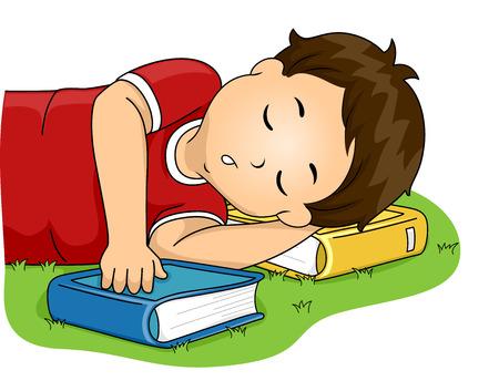escuela infantil: Ilustración de un Niño Pequeño Usando su libro como una almohada mientras duerme Foto de archivo