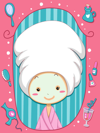 Frame Illustratie van een meisje dat een badjas en een handdoek over haar hoofd