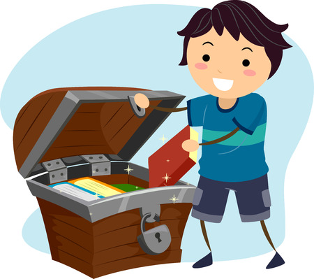 literature: Illustration of a Little Boy Hiding His Books Away in a Treasure Chest Stock Photo