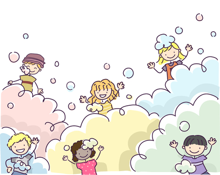 foam party: Doodle Illustration of Stickman Kids Playing with Bubbles Stock Photo