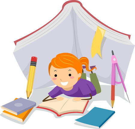 schooler: Stickman Illustration of a Little Girl Studying Under a Tent Made from School Supplies