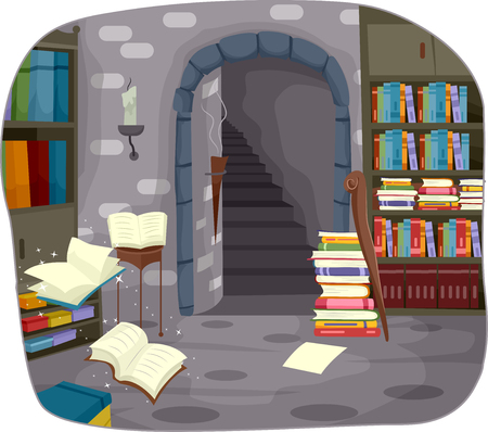 underground passage: Illustration of an Alchemy Library Buried Underground